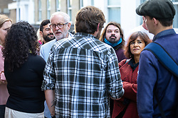 © Licensed to London News Pictures. 25/09/2021. Brighton, UK. JEREMY CORBYN and his wife LAURA ALVAREZ are seen outside a bar near to the conference . The first day of the 2021 Labour Party Conference , which is taking place at the Brighton Centre . Photo credit: Joel Goodman/LNP