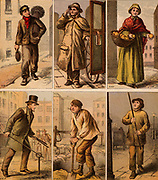 London street scenes. Boy Chimney Sweep: Cab driver: Orange Seller: Water Board Man turning a stopcock: Digging up the road: Lamplighter lighting a gas street lamp. Illustrations by Horace William Petherick (1839-1919) for a children's book published London c1875. Chromolithograph.