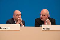 09 DEC 2014, KOELN/GERMANY:<br /> Peter Tauber (L), CDU Generalsekretaer, und Volker Kauder (R), CDU, CDU/CSU Fraktionsvorsitzender, im Gespraech, CDU Bundesparteitag, Messe Koeln<br /> IMAGE: 20141209-01-065<br /> KEYWORDS: Party Congress, Gespräch