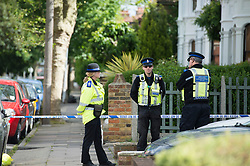 © Licensed to London News Pictures. 03/06/2015 Essex, UK. Police guard the scene after a murder enquiry is launched in Southend on Sea. A 30 year old man was stabbed in the chest in Park Lane, about 4.30 yesterday afternoon but died in hospital this morning. Police are hunting two males seen running from the scene. Photo credit : Simon Ford/LNP