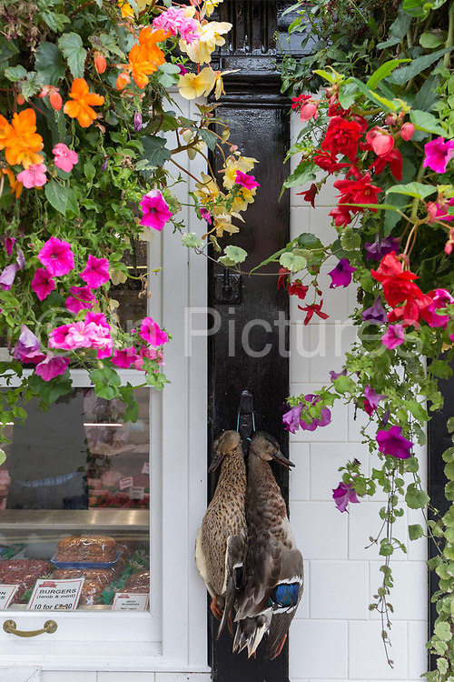 Dead ducks hang outside a butchers shop in Ludlow, on 11th September 2018, in Ludlow, Shropshire, England UK.