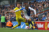 Gaetano Berardi of Leeds United tackles Simeon Jackson of Blackburn Rovers. Skybet football league Championship match, Blackburn Rovers v Leeds United at Ewood Park in Blackburn, Lancs on Saturday 12th March 2016.<br /> pic by Chris Stading, Andrew Orchard sports photography.