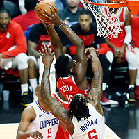 28 February 2018: Houston Rockets center Clint Capela (15) goes for the dunk over LA Clippers center DeAndre Jordan (6) during the Houston Rockets 105-92 victory over the LA Clippers, at the Staples Center, Los Angeles, California, USA.