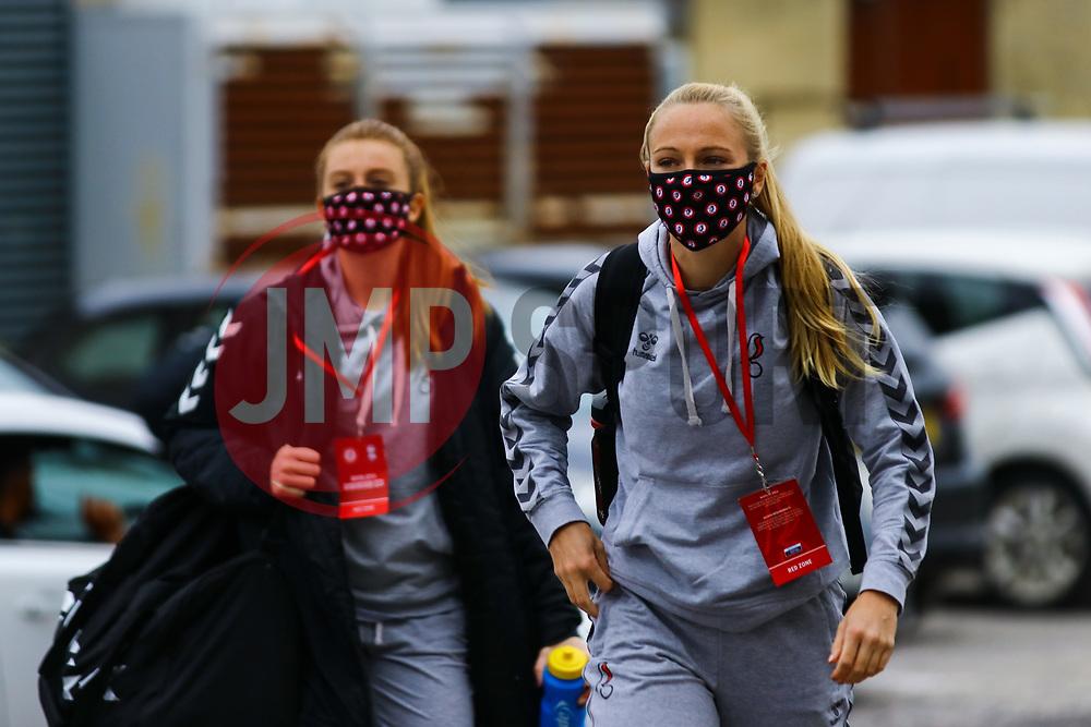 Jemma Purfield of Bristol City Women arrives at Twerton Park prior to kick off - Mandatory by-line: Will Cooper/JMP - 18/10/2020 - FOOTBALL - Twerton Park - Bath, England - Bristol City Women v Birmingham City Women - Barclays FA Women's Super League