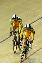 Shane Perkins and Scott Sunderland of Australia sprint for the finish during the men's sprint final held at the velodrome at the Indira Gandhi Sports Complex in New Delhi, India on the 7 October 2010..Photo by:  Ron Gaunt/SPORTZPICS/PHOTOSPORT