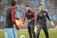SergioAgüero (Manchester City) laughing as he shares a joke with his team mates as they warm up before the Champions League match between Manchester City and Celtic at the Etihad Stadium, Manchester, England on 6 December 2016. Photo by Mark P Doherty.