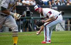 June 25, 2017 - Chicago, IL, USA - Chicago White Sox relief pitcher Chris Beck (54) tries to throw out Oakland Athletics left fielder Khris Davis (2) in the ninth inning on Sunday, June 25, 2017 at Guaranteed Rate Field in Chicago, Ill. (Credit Image: © Brian Cassella/TNS via ZUMA Wire)
