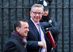 © Licensed to London News Pictures. 27/02/2018. London, UK. Secretary of State for Environment, Food and Rural Affairs Michael Gove (C) and Secretary of State for Wales Alun Cairns (L) on Downing Street. Photo credit: Rob Pinney/LNP