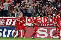 FOOTBALL - UEFA CHAMPIONS LEAGUE 2011/2012 - 1/4 FINAL- 1ST LEG - OLYMPIQUE MARSEILLE v BAYERN MUNCHEN - 28/03/2012 - PHOTO PHILIPPE LAURENSON / DPPI - JOY ARJEN ROBBEN (BAY) AFTER HIS GOAL WITH DAVID ALABA / FRANCK RIBERY
