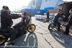 Mooneyes Show invited guests Oliver Jones and Dean Micetich meet their custom bikes at the docks. Yokohama, Japan. Saturday December 2, 2017. Photography ©2017 Michael Lichter.