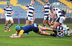 Oli Thorneywork (Warwick School) of Worcester Warriors Under 18s scores a try - Mandatory by-line: Robbie Stephenson/JMP - 14/01/2018 - RUGBY - Sixways Stadium - Worcester, England - Worcester Warriors Under 18s v Yorkshire Carnegie Under 18s - Premiership Rugby U18 Academy