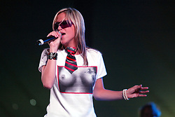 Nicole Appleton, of The Appeltons, play on Sunday in the King Tut's Wah Wah Tent, T in the Park 13/07/2003..Pic: © Michael Schofield.
