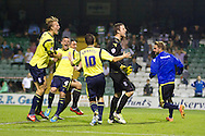 Birmingham keeper Colin Doyle celebrates with teammates after the penalty shootout victory of Birmingham City over Yeovil Town during the Capital One Cup match, 2nd round, Yeovil Town v Birmingham City at Huish Park in Yeovil on Tuesday 27th August 2013. pic by Sophie Elbourn, Andrew Orchard sports photography