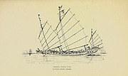 Sketch of a Chinese Pirate Junk Off Banka Island, Sumatra from the book ' Pen and pencil sketches of shipping and craft all round the world ' by Pritchett, Robert Taylor Published in London in 1899