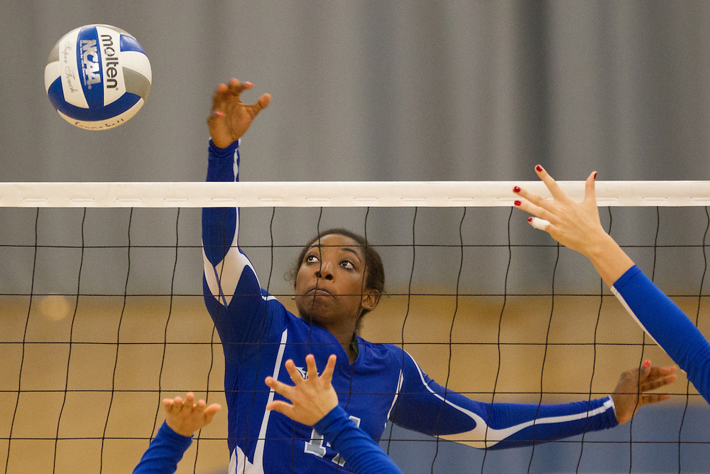 Kim Donaldson, of Colby College, during an NCAA Division III volleyball match against Maine Maritime Academy at The Whitmore-Mitchell at Wadsworth Gymnasium, Saturday Sep. 6, 2014 in Waterville, ME.  (Dustin Satloff/Colby College Athletics)