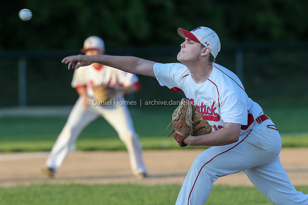 (5/24/18, NATICK, MA) Natick's Noah Joseph delivers a pitch during the semifinal of the 12th annual Rich Pedroli Memorial Daily News Classic against Hopkinton at Mahan Field in Natick on Thursday. [Daily News and Wicked Local Photo/Dan Holmes]