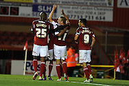 Bristol city's  Scott Wagstaff © celebrates after he scores  his sides  2nd  goal.  Capital one cup match, 2nd round, Bristol city v Crystal Palace at Ashton Gate stadium in Bristol on Tuesday 27th August 2013. pic by Andrew Orchard , Andrew Orchard sports photography,