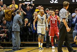 Jan 6, 2018; Morgantown, WV, USA; West Virginia Mountaineers guard Jevon Carter (2) reacts after a made basket during the first half against the Oklahoma Sooners at WVU Coliseum. Mandatory Credit: Ben Queen-USA TODAY Sports