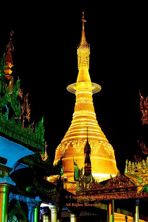 Night Pagoda:  Naung Taw Gyi Pagoda makes an imposing night image, Shwedagon Pagoda, Yangon Myanmar.