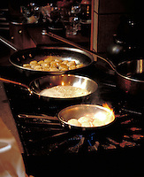 Scallops cooking a cuisine class, Anderson Valley, CA.  CD scan from 35mm slide film.  © John Birchard