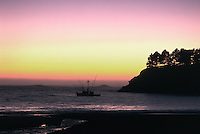 Fishing boat at anchor in Little River Bay, Mendocino County, California