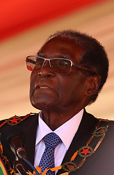 President Robert Mugabe addresing people gathered for the Defence Forces commemorations at National Sports Stadium in Harare,Zimbabwe,August 15,2017.(Xinhua/Stringer) (Photo by Xinhua/Sipa USA)