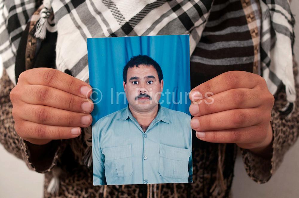 Tunisia, Medenine transit centre for refugees from Libya. Photo of Abdul Hameed, killed in Nalut.