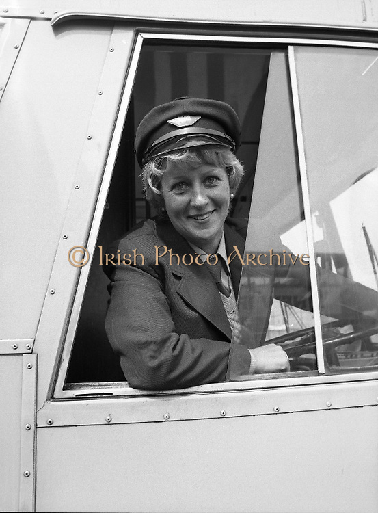At the Wheel:..1980-05-02.2nd May 2012.02/05/1980.05-02-80..Photographed at Phibsborough Garage, Dublin...First Ever Woman CIE Dublin City Bus Driver, Joan Doran, 171 Ballyfermot Road, Dublin. Her first assignment is from Conyngham Road Garage on May 4. ..