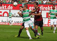 BILDET INNGÅR IKKE I FASTAVTALER OG ALL NEDLASTING BLIR FAKTURERT<br /> <br /> Fotball<br /> Tyskland<br /> Foto: imago/Digitalsport<br /> NORWAY ONLY<br /> <br /> 13.09.2015 - Fussball - Saison 2015 2016 - 2. Fussball - Bundesliga - 06. Spieltag: SpVgg Greuther Fürth Fuerth - 1. FC Nürnberg Nuernberg FCN - / JüRa - Even Hovland (3, 1.FC Nürnberg / FCN ) gg Veton Berisha (19, SpVgg Greuther Fürth )