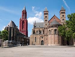 Maastricht church Saint Servaas Basiliek and on left church Saint Jan in Vrijthof square, The Netherlands