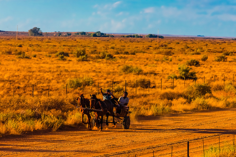 """Passing people in a horse cart as the Rovos Rail train  """"Pride of Africa"""" crosses the Great Karoo Desert on it's journey between Pretoria and Cape Town, South Africa."""