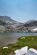 The view along the John Muir Trail at Squaw Lake, John Muir Wilderness, Sierra National Forest, Sierra Nevada Mountains, California, USA.