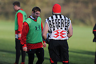 Dan Baugh, WRU Assistant Strength and Conditioning Coach chats to Leigh Halfpenny (l). Wales rugby team training at the Vale, Hensol, near Cardiff on Thursday 29th November 2012. the team are preparing for their final Autumn international match against Australia this Saturday. pic by Andrew Orchard, Andrew Orchard sports photography,