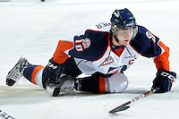 KELOWNA, CANADA, OCTOBER 29: Chase Schaber #10 of the Kamloops Blazers stretches on the ice as the Kamloops Blazers visit the Kelowna Rockets  on October 29, 2011 at Prospera Place in Kelowna, British Columbia, Canada (Photo by Marissa Baecker/Shoot the Breeze) *** Local Caption *** Chase Schaber;