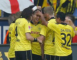30.04.2011, Signal Iduna Park, Dortmund, GER, 1.FBL,  Borussia Dortmund vs 1. FC Nuernberg, im Bild Jubel nach 2:0 von Robert Lewandowski (Dortmund POL #7), der lacht, links vorne ist Neven Subotic (Dortmund USA/BIH #4) und rechts Antonio da Silva (Dortmund #32), EXPA Pictures © 2011, PhotoCredit: EXPA/ nph/  Scholz       ****** out of GER / SWE / CRO  / BEL ******