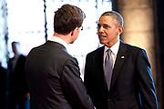 De Amerikaanse president Barack Obama tijdens zijn bezoek aan het Rijksmuseum in Amsterdam. Barack Obama is in Nederland voor de De Nuclear Security Summit 2014 (NSS)<br /> <br /> U.S. President Barack Obama during his visit to the Rijksmuseum in Amsterdam. Barack Obama is in the Netherlands for the 2014 Nuclear Security Summit (NSS)<br /> <br /> Op de foto/ On the photo:  Prime Minister Mark Rutte welcomes president Barack Obama / Minister-president Mark Rutte verwelkomt president Barack Obama