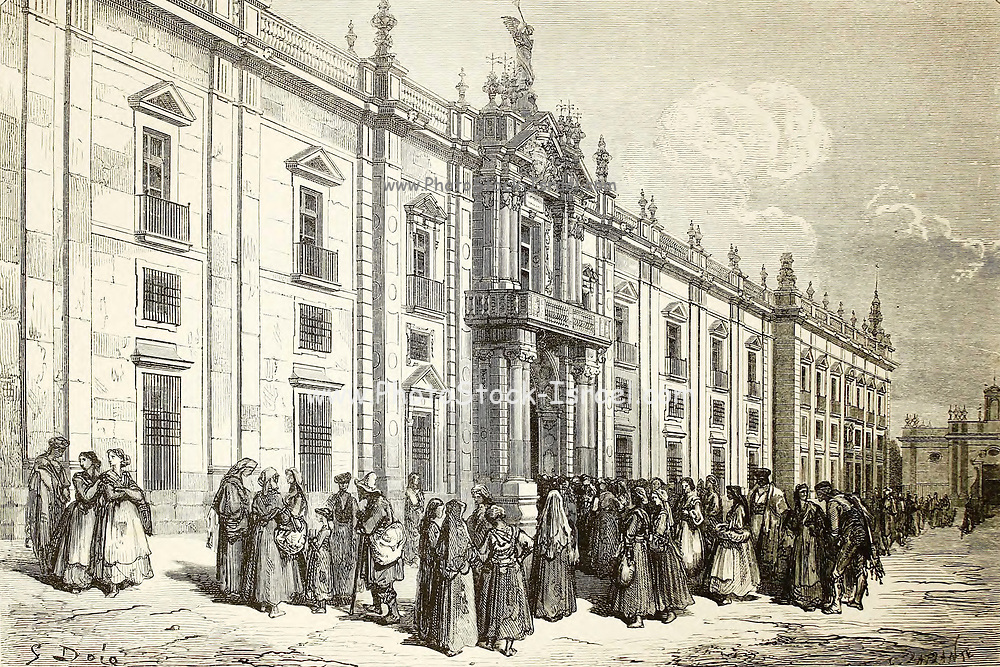 La Fábrica de Tabacos, a Séville [The Tobacco Factory, in Seville] Page illustration from the book 'L'Espagne' [Spain] by Davillier, Jean Charles, barón, 1823-1883; Doré, Gustave, 1832-1883; Published in Paris, France by Libreria Hachette, in 1874
