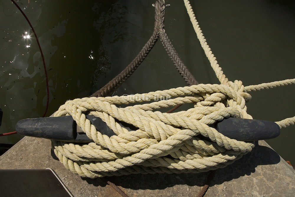 close up of a ship dock mooring cleat