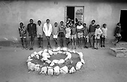 School boys lined up outside of classroom, 19, Cherhou School