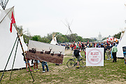 The Cowboy and Indian Alliance (CIA), a group of ranchers, farmers and indigenous leaders, set up camp on the National Mall in Washington, District of Columbia, U.S., on Tuesday, April 22, 2014. The groups are hosting an encampment on the National Mall for a week's worth of actions against the Keystone XL tar sands pipeline.