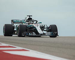 October 20, 2018 - Austin, USA - Mercedes AMG Petronas driver Lewis Hamilton (44) of Great Britain drives through Turn 10 during qualifying at the Formula 1 U.S. Grand Prix at the Circuit of the Americas in Austin, Texas on Saturday, Oct. 20, 2018. Hamilton set a new track record and earned pole position for the Grand Prix on Sunday. (Credit Image: © Scott Coleman/ZUMA Wire)