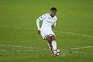 Leroy Fer of Swansea city in action. The Emirates FA Cup, 3rd round replay match, Swansea city v Wolverhampton Wanderers at the Liberty Stadium in Swansea, South Wales on Wednesday 17th January 2018.<br /> pic by  Andrew Orchard, Andrew Orchard sports photography.