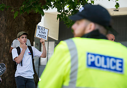 © Licensed to London News Pictures; 13/06/2020; Bristol, UK. A small counter protest is seen in opposition to an 'All Lives Matter' rally at the Cenotaph war memorial in Bristol city centre. Earlier at the event there were scuffles and a black man appeared to get punched in the face and was led away by police. The 'All Lives Matter' rally comes nearly a week after the Black Lives Matter march when the statue of Bristol slave trader and philanthropist Edward Colston was pulled down from a plinth nearby and thrown into Bristol harbour. Despite the restrictions due to the Covid-19 coronavirus pandemic, Black Lives Matter protests have occurred across the world in memory of George Floyd, a black man who was killed on May 25, 2020 in Minneapolis in the US by a white police officer kneeling on his neck for nearly 9 minutes. Photo credit: Simon Chapman/LNP.