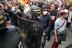 People demonstrate against the government's labour law reforms on September 15, 2016 in Rennes, western France. Opponents of France's controversial labour reforms took to the streets on September 15 for the 14th time in six months in a last-ditch bid to quash the measures that lost the Socialist government crucial support on the left. Photo by Vincent Feuray/ABACAPRESS.COM