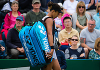 Naomi Osaka of Japan walks off the court after losing her second-round match at the 2019 Nature Valley Classic WTA Premier tennis tournament