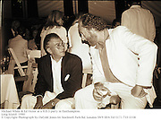 Michael White & Ed Victor at a H.B.O party in Easthampton.<br />Long Island. 1990<br />© Copyright Photograph by Dafydd Jones 66 Stockwell Park Rd. London SW9 0DA Tel 0171 733 0108