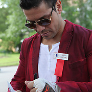 Boxer Sergio Martinez is seen in the parade of champions during the 2013 International Boxing Hall of Fame induction ceremony  on Sunday, June 9, 2013 in Canastota, New York.  (AP Photo/Alex Menendez)