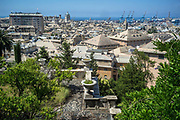 Genoa, Italy. A view over the rooftops of Genoa from the gardens of Villa Di Negro, Genoa, Italy.