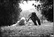 Silver gelatine of Peter Beard and Lucien Clergue after lunch near Arles, in 1984
