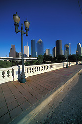 Stock photo of the Houston skyline from Sabine Bridge